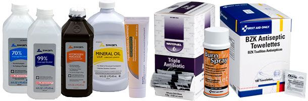 Topical First Aid Treatment products including Povidone Iodine, Benzalkonium Chloride, Antiseptic Spray...Hydrocortisone Cream & Hydrogen Peroxide. We offer Insect Sting Relief, Lubricating Jelly, Smelling Salts, Sponges, Isopropyl (Rubbing) Alcohol, Sanitizers & Ammonia Inhalants. We have it all: Find Burn Relief and Burn Cream, Single and Triple Antibiotics, Cold Spray, Spray Bandage, Blood Stoppers and More.