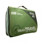 image of a travel first aid kit in a green bag