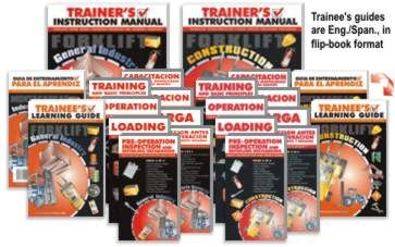 The forklift compliance kit contains all of our forklift training materials. That's everything you need to successfully train your forklift operators on General Industry or Construction, in English or Spanish! These four-video sets or DVDs cover each OSHA regulation, including training, operation, loading, pre-operation inspection, and refueling/recharging of forklifts. Step-by-step training instructions in addition to real-world examples, practice drills, and review questions ensure that your employees will receive the comprehensive training they need. Further guidance in the Trainer's Instruction Manual, including references to OSHA regulations, ensures that your trainer is well-prepared. Training completion certificates and operator wallet cards are also included with this program.