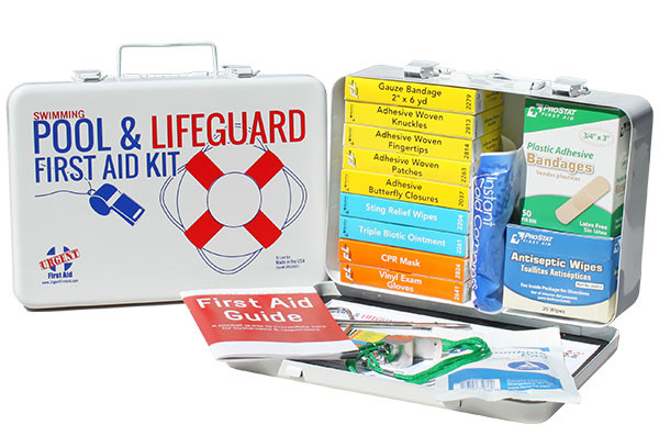 Swimming Pool & Lifeguard First Aid Kit - Metal with gasket for weather resistance and CPR included