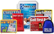 Image is a collection of small and mini first aid kits