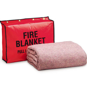 "Fire Retardant Blanket, 62""x80"", (70% wool, 30% man-made fibers), and 13.5""x17.5""x4"" Vinyl Bag w/ 4 Mounting Brass Grommet Holes"