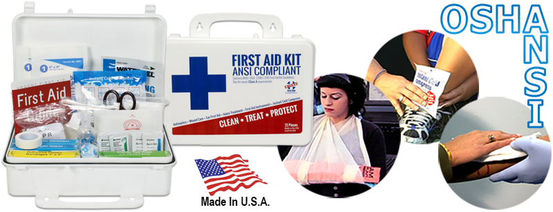 Urgent First Aid Kit, 74 Pieces, ANSI Class A, 10 to 25 Person, in a lightweight, durable, portable and wall mountable gasketed plastic case. First Aid Store offers this Urgent First Aid American Made solution for your ANSI and OSHA First Aid Kit and Supply requirements: The Urgent First Aid kit is our best value plastic ANSI Class A first aid kit. It meets or exceeds the most recent OSHA and ANSI 2015 Standard fill requirements, with contents designed to deal with most common types of workplace injuries so you know you and your employees will be covered with the new ANSI 2015 requirements. Under the new ANSI Standard Minimum Requirements for Workplace First Aid Kits and Supplies guidelines, general requirements include the following items: Adhesive bandages, adhesive tape, antibiotic application, antiseptic, a breathing barrier, burn dressing (gel soaked), burn treatment, cold packs, eye covering, eye/skin wash, first aid guide, hand sanitizer, medical exam gloves, roller bandages, scissors, sterile pads, trauma pads, and triangular bandages. in addition the location of the kit must be easily accessible.This ANSI Class A first aid kit is great for small offices and general workplaces of up to 10 people. Whether an office environment or a factory, it is required to be prepared to treat minor injuries. Even if you have a kit purchase prior to June 2016, it likely no longer includes content needed for the types of incidents that occur in the workplace. The International Safety Equipment Association 2015 minimum requirements for workplace first aid kits and supplies (American National Standard ANSI/ISEA Z308.1-2015) is effective now. The assortment and quantity of supplies included in a first aid kit were chosen based upon a review of increased workplace incidents requiring first aid treatment, similar international standards and current practices in treating injuries.This ANSI Class A first aid kit is great for small offices and general workplaces of up to 25 people, 