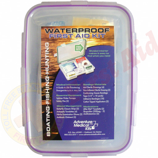 Handy for unexpected emergencies while cruising on the lake, waterskiing, or fishing. Contains enough supplies to treat minor to moderate injuries for 1-4 people