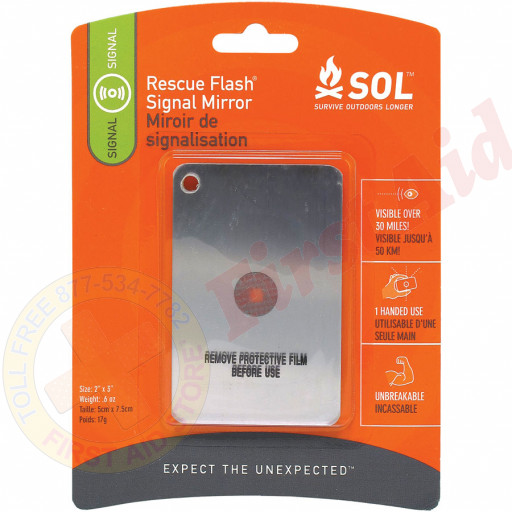 """Carded for convenient display, the Survive Outdoors Longer® Rescue Flash® Mirror is a survival """"must have"""""""