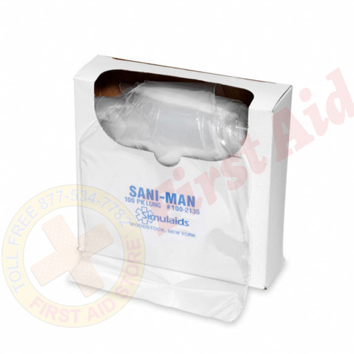 The Simulaids Sani-Man Face Shield Lung System - 100 Per Pack