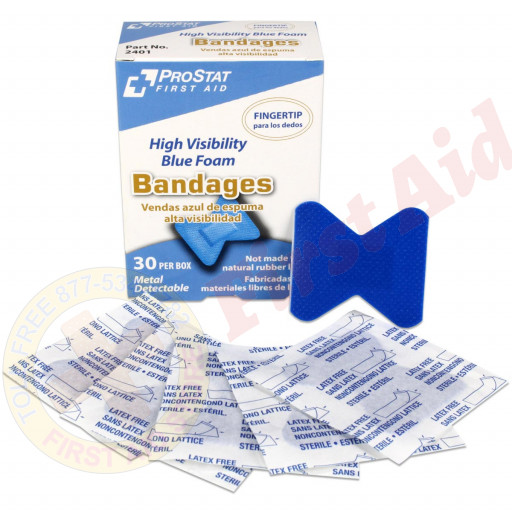 The Fingertip High Visibility Blue Foam Bandages, Metal Detectable, 30 per box