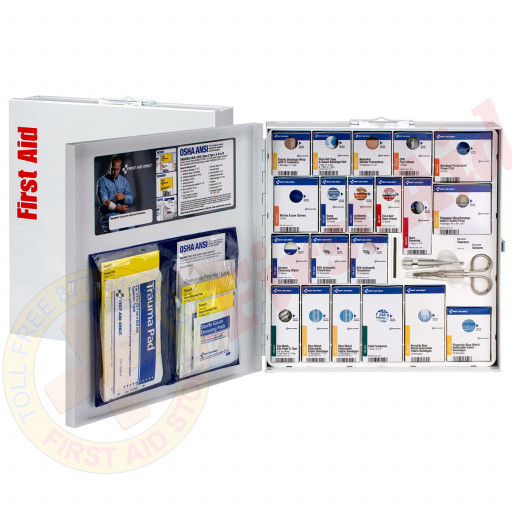 The First Aid Only Large Metal SmartCompliance Food Service Cabinet, ANSI A+ with Meds