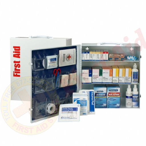 The First Aid Only 3 Shelf First Aid ANSI A+ Metal Cabinet, with Meds