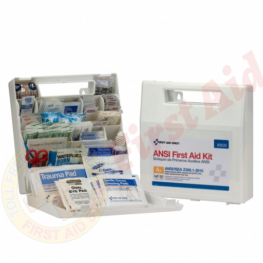 The First Aid Only 50 Person First Aid Kit, ANSI A+, Plastic Case with Dividers