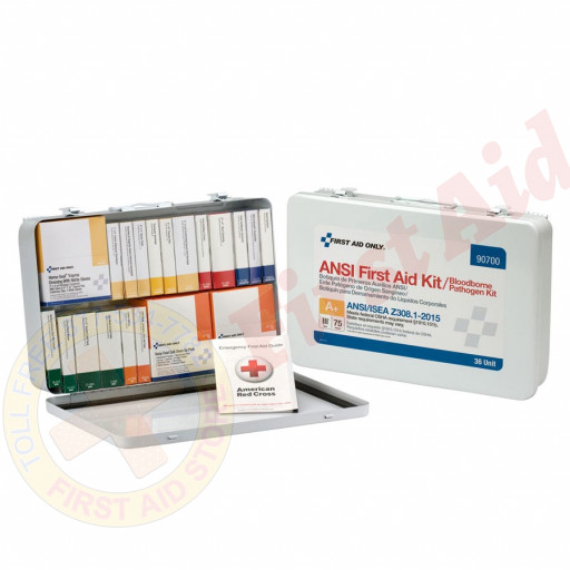 The First Aid Only 36 Unit First Aid Kit, ANSI A+ with BBP,  Metal Case