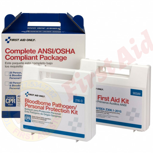 The First Aid Only 25 Person Complete ANSI/OSHA Compliance Package (First Aid and BBP)