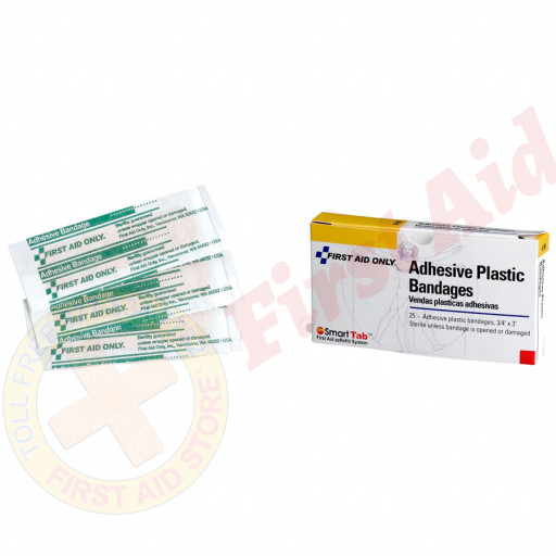 "The First Aid Only® Adhesive Bandage - Plastic - 3/4"" - 16 per box"