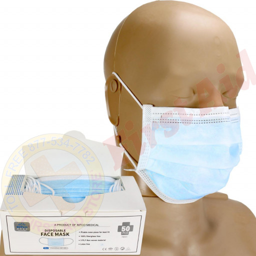 The Disposable 3-ply Face Mask with Ear Loop, blue, Box of 50