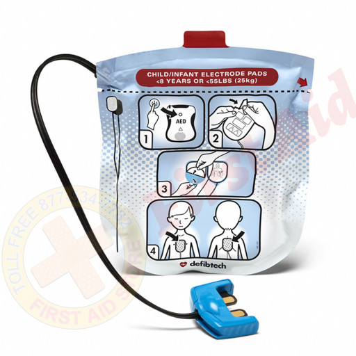 The Defibtech Pediatric Electrodes for Defibtech Lifeline View AED