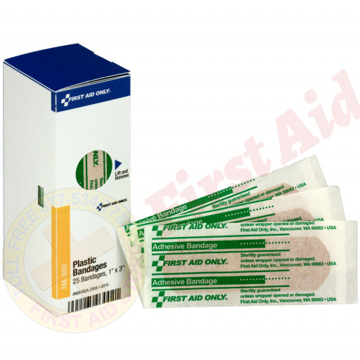 """The First Aid Only® 1"""" x 3"""" Adhesive Bandages, 25 each - SmartTab EzRefill"""