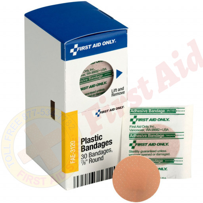 "The 0.88"" Round Spot Plastic Bandages, 30 Per Box - SmartTab EzRefill"