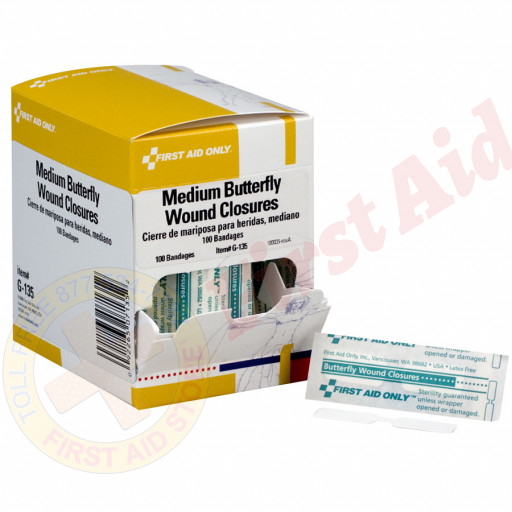 The First Aid Only® Butterfly Wound Closure, Medium - 100 Per Box