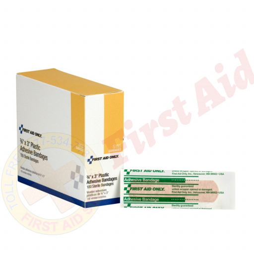 "The First Aid Only® Adhesive Bandage, Plastic ¾"" x 3"" - 100 Per Box"