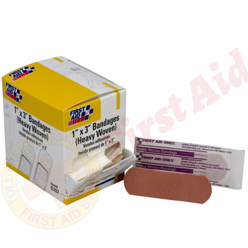 "The First Aid Only® Adhesive Bandage, Heavy Woven 1""x3"" - 50 Per Box"