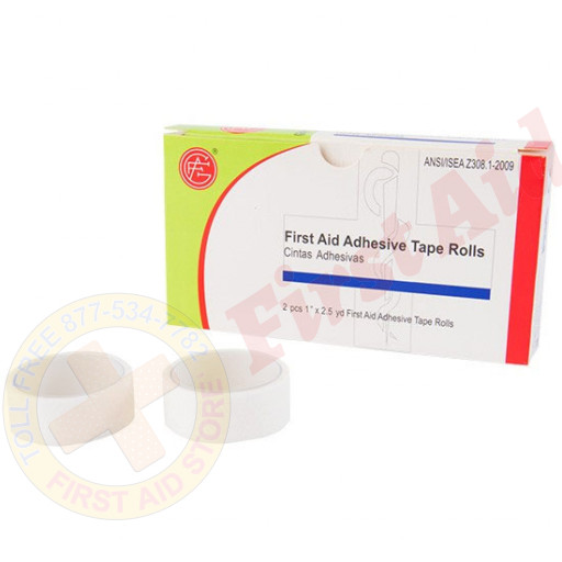 """The Genuine First Aid® 1/2"""" x 2.5 yd. First Aid Adhesive Tape Roll - 2 Rolls Per Box"""
