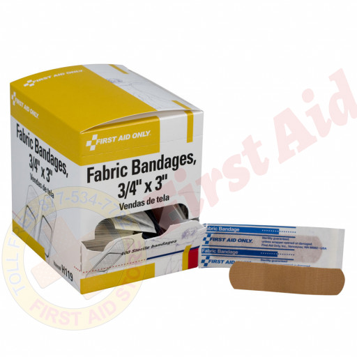 "The First Aid Only® Adhesive Bandage, Fabric 3/4"" - 100 Per Box"