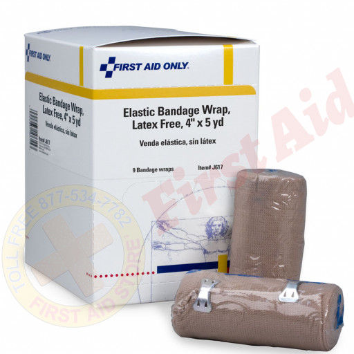 "The First Aid Only® 4"" Latex-Free Elastic Bandage Wrap w/ 2 Fasteners - 9 Per Box"