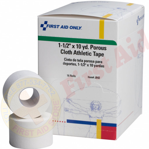 "The First Aid Only® Athletic Tape - Porous Cloth 1-1/2"" x 10 yd. - 16 Per Box"