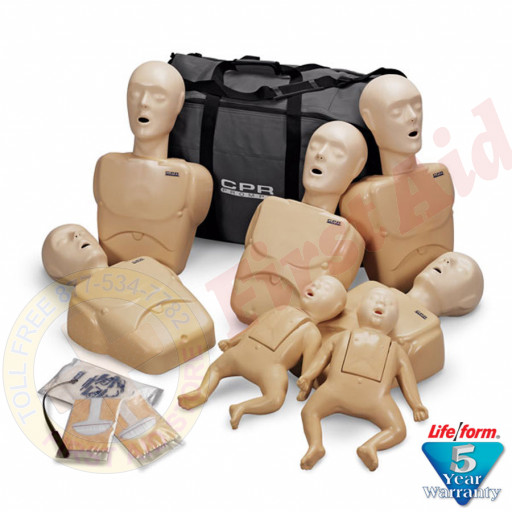 The CPR Prompt™ 7-Pack Mannequins - 5 Adult/Child & 2 Infant - Tan