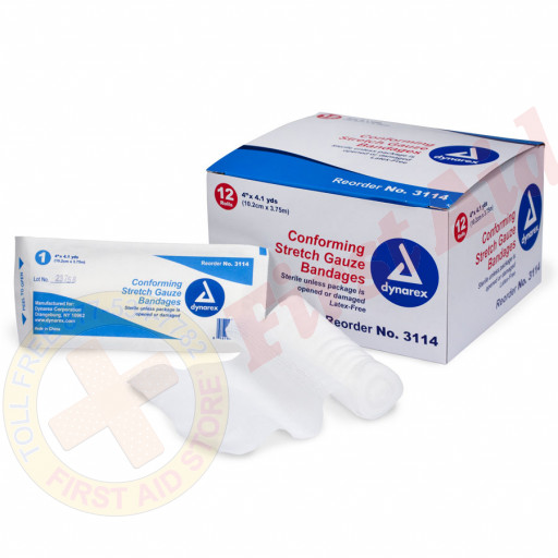 """The First Aid Store™ Conforming Gauze Roll Bandage, Sterile 4"""" - 12 Per Bag"""