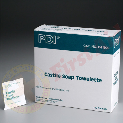 "The First Aid Store™ Castile Soap Towelette, 5""x7"" - 100 Per Box"