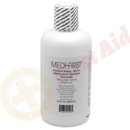 The First Aid Only® Eye Wash - Plastic Bottle - One Time Use - 32 oz. - 1 Each