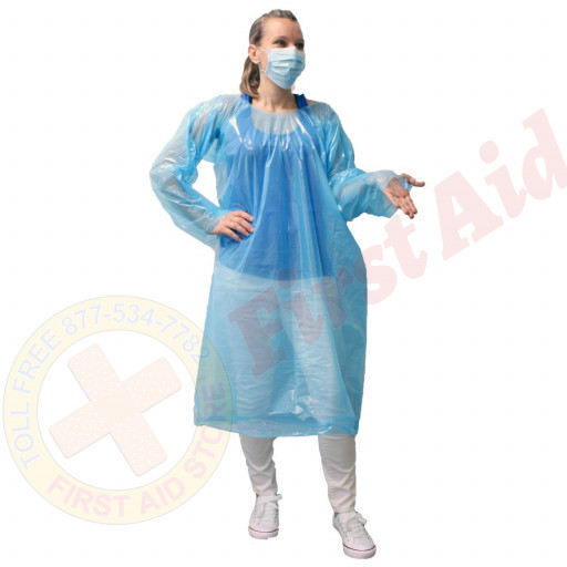 The Economy, One Time Use, Disposable Gown with Thumb Hooks, Individually Bagged, Blue, 1 Each
