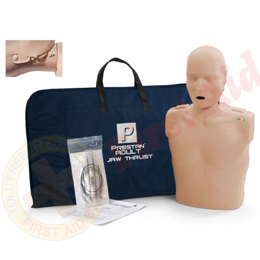 The Prestan™ Adult Jaw Thrust CPR Mannequin w/ Monitor - Medium Skin
