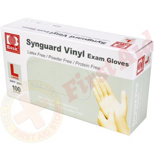 The First Aid Store™ Powder Free Vinyl Exam Gloves - Large - 100 Per Box