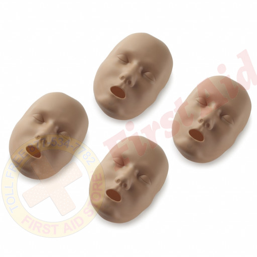The Replacement Faces for Prestan™ Adult Mannequins - 4 Pack - Dark Skin