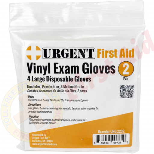 The Prostat First Aid Disposable Gloves, Large, 2 Pair Per Bag