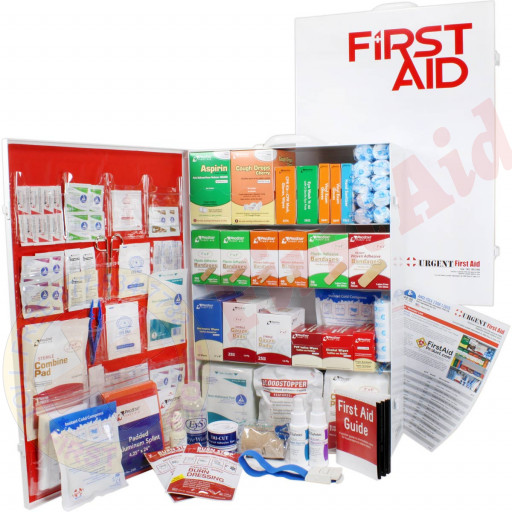 The Urgent First Aid 4 Shelf Industrial First Aid Station - Pocketliner - 150 Person - ANSI B+