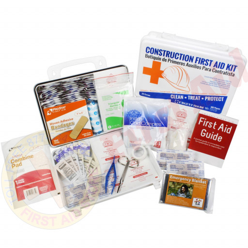 The Bilingual OSHA Contractors First Aid Kit for Job Sites up to 25 People – Gasketed Plastic, 180 pieces
