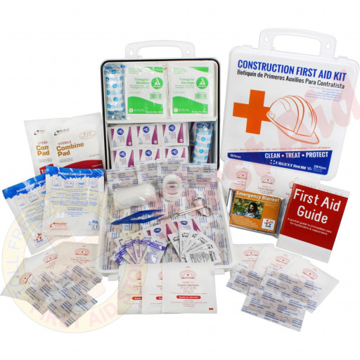 The Bilingual OSHA Contractors First Aid Kit for Job Sites up to 50 People – Gasketed Plastic, 238 pieces