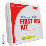 The Genuine First Aid 50 Person Basic First Aid Kit with Eye Wash - Plastic