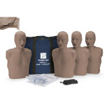 The Prestan Adult Jaw Thrust CPR Mannequin w/o CPR Monitor - 4 Pack - Dark Skin