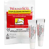 WoundSeal package including 2 large topical powder dispensers to stop bleeding