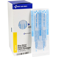 "The First Aid Only® 1"" x 3"" Visible Blue Metal Detectable Bandages, 25 each - SmartTab EzRefill"