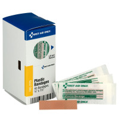 "The 3/8"" X 1.5"" Junior Plastic Bandages, 40 Per Box - SmartTab EzRefill"