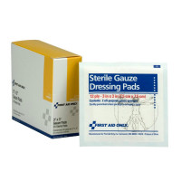 "The First Aid Only® Dressing Pad, Gauze 3""x3"" - 20 Per Box"