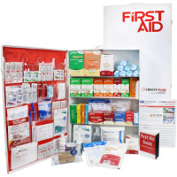 The Urgent First Aid 4 Shelf Industrial First Aid Station - Pocketliner - 150 Person - ANSI A+