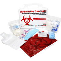The BBP / Bodily Fluid Protection Kit with Bonus 6 piece CPR kit for additional Rescuer Protection