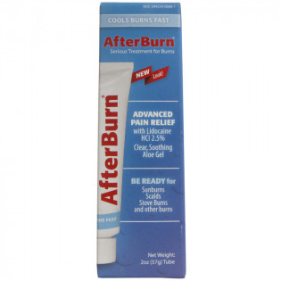 Retail box for easy to use AfterBurn explains how the ingredients; Aloe, used in trauma centers worldwide, promotes fast healing, while the lidocaine provides instant pain relief.