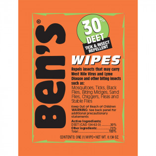 Ben's Wipes - Fragrance Free, Portable Protection - Smell the great outdoors, not your repellent.